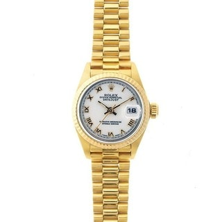 Pre-Owned Rolex Women's President 18k Gold White Dial Watch