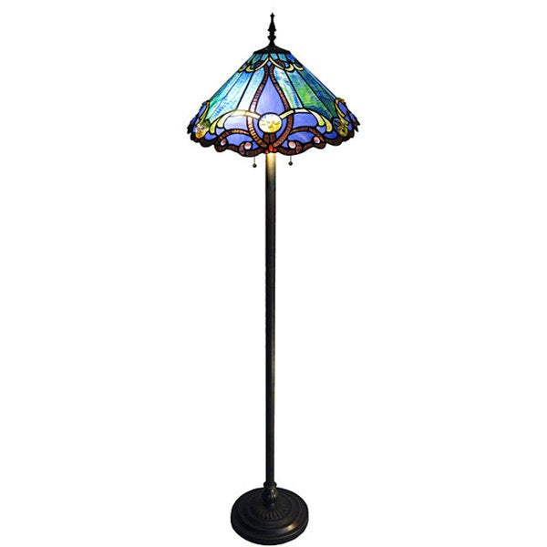 Tiffany-style 2-light Bronze Victorian Floor Lamp