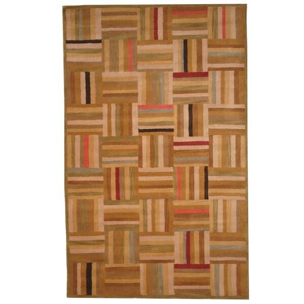 Indo Hand-tufted Tibetan Multicolor Wool Rug (4'9 x 7'9)