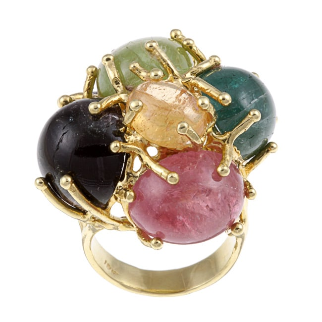 18k Yellow Gold and Multicolor Gemstone Cocktail Ring