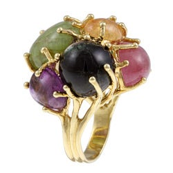18k Yellow Gold and Multicolor Gemstone Cocktail Ring - Thumbnail 1