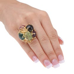 18k Yellow Gold and Multicolor Gemstone Cocktail Ring - Thumbnail 2