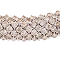 Pre-owned 18k White Gold 72ct TDW Champagne Diamond Riviera Estate Necklace - Thumbnail 1