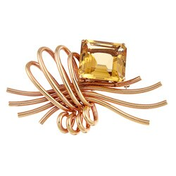 Pre-owned 18k Rose Gold Smokey Quartz Estate Brooch