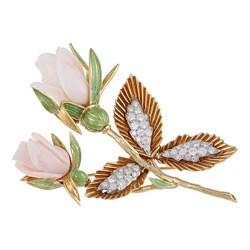 18k Gold Angel Skin Coral and 1 4/5ct TDW Diamond Estate Brooch (G-H, VS1-VS2)