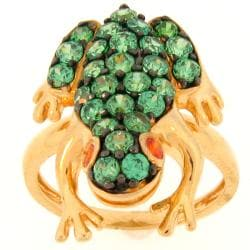 Meredith Leigh Vermeil Green and Orange CZ Critters Frog Ring