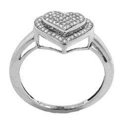 Sterling Silver 1/4ct TDW Diamond Heart Cocktail Ring - Thumbnail 1