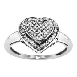 Sterling Silver 1/4ct TDW Diamond Heart Cocktail Ring