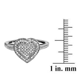 Sterling Silver 1/4ct TDW Diamond Heart Cocktail Ring - Thumbnail 2
