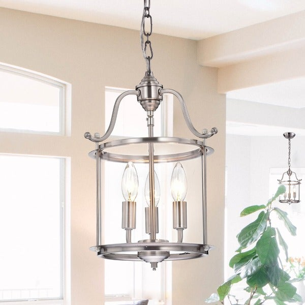 Indoor 3-light Antique Nickel Chandelier - Indoor 3-light Antique Nickel Chandelier - Free Shipping Today