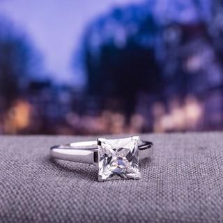 Miadora 10k White Gold White Square-cut Created Sapphire Solitaire Ring
