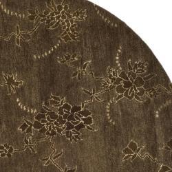 Safavieh Handmade Soho Fall Brown New Zealand Wool Rug (6' Round) - Thumbnail 1