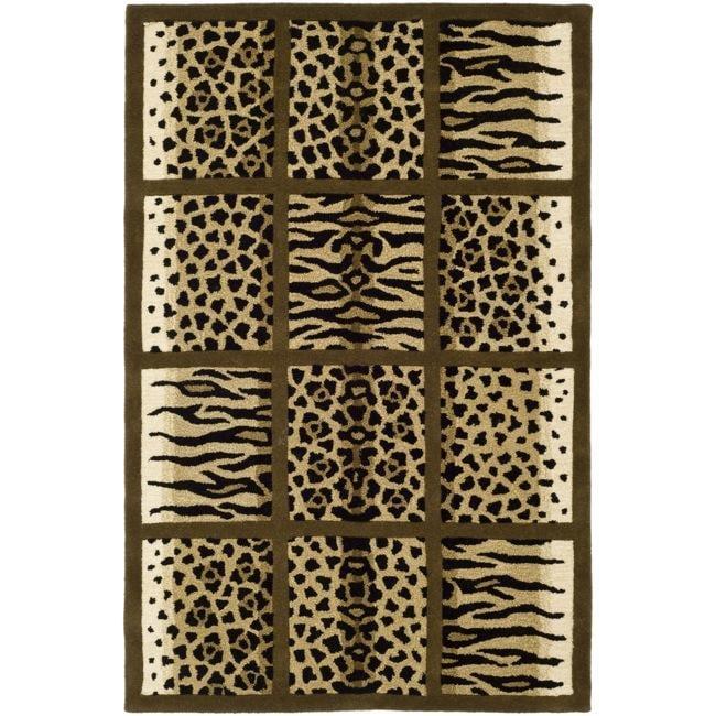 Safavieh Handmade Soho Jungle Print Beige New Zealand Wool Rug (5'x 8')
