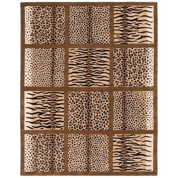 "Safavieh Handmade Soho Jungle Print Beige New Zealand Wool Rug - 8'-3"" x 11'"