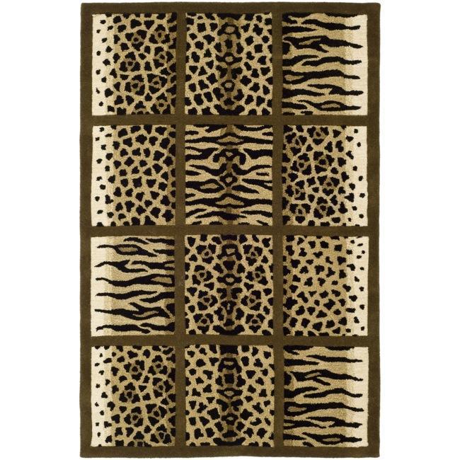 Safavieh Handmade Soho Jungle Print Beige N. Z. Wool Rug (3'6 x 5'6')