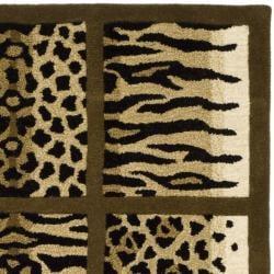 Safavieh Handmade Soho Jungle Print Beige New Zealand Wool Rug (7'6 x 9'6) - Thumbnail 1