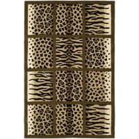 Safavieh Handmade Soho Jungle Print Beige New Zealand Wool Rug - 7'6 x 9'6
