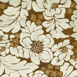 Safavieh Handmade Garden Chocolate/ Light Blue N. Z. Wool Rug (8'3 x 11') - Thumbnail 2