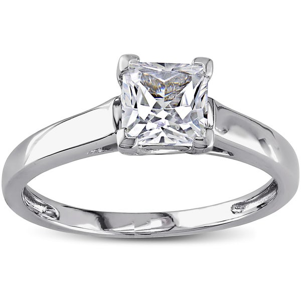 Miadora 10k White Gold White Prong-set Created Sapphire Solitaire Ring