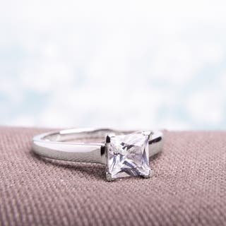 Miadora 10k White Gold Princess-cut Created White Sapphire Solitaire Engagement Ring|https://ak1.ostkcdn.com/images/products/5185949/P13020956.jpg?impolicy=medium