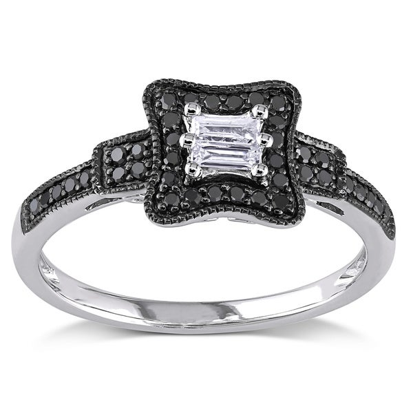 Miadora 10k Gold 1/4ct TDW Black and White Baguette-Cut Diamond Ring