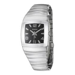 Rado Men's 'Sintra' Silver/Black Ceramic Automatic Date Watch