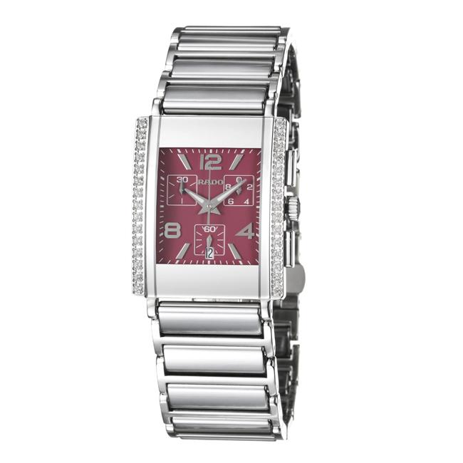 Rado Men's 'Integral' Water-Resistant Ceramic/Steel Quartz Diamond Watch