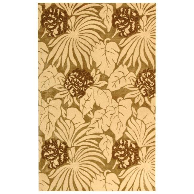 Safavieh Handmade Soho Ferns Ivory New Zealand Wool Rug - 3'6 x 5'6