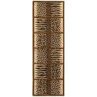 "Safavieh Handmade Soho Jungle Print Beige N. Z. Wool Runner (2'6 x 10') - 2'6"" x 10'"