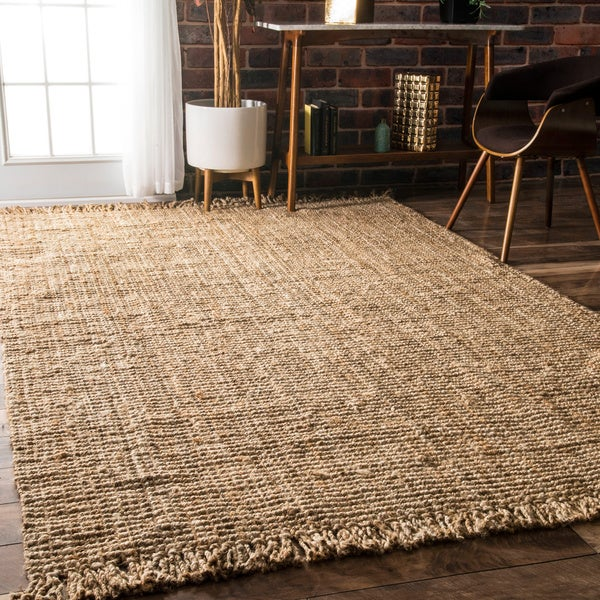 Handmade Braided Natural Jute Reversible Area Rug 7 6 X 9