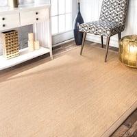 Havenside Home Lubec Handmade Eco Natural Fiber Cotton Border Sisal Rug (5' x 8')