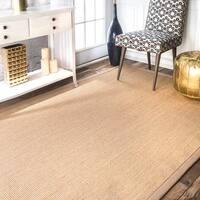 Havenside Home Lubec Handmade Eco Natural Fiber Cotton Border Sisal Area Rug (8' x 10') - 8' x 10'