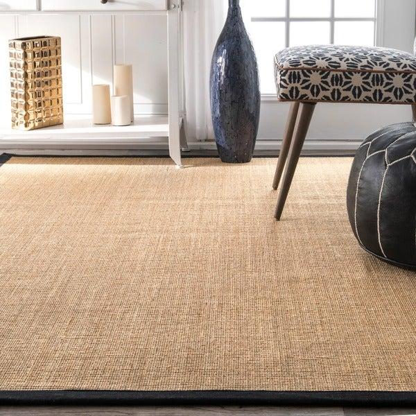 nuloom handmade alexa eco natural fiber cotton border sisal rug 8u0027 x 10u0027 free shipping today