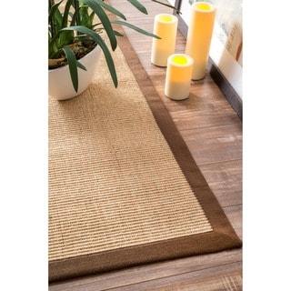 nuLOOM Handmade Alexa Eco Natural Fiber Cotton Border Sisal Rug (8' x 10')