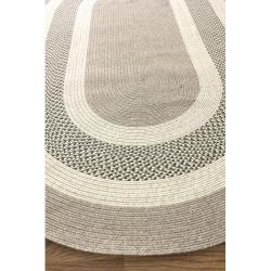 nuLOOM Handmade Reversible Braided Green Villa Rug (5' x 8' Oval) - Thumbnail 1
