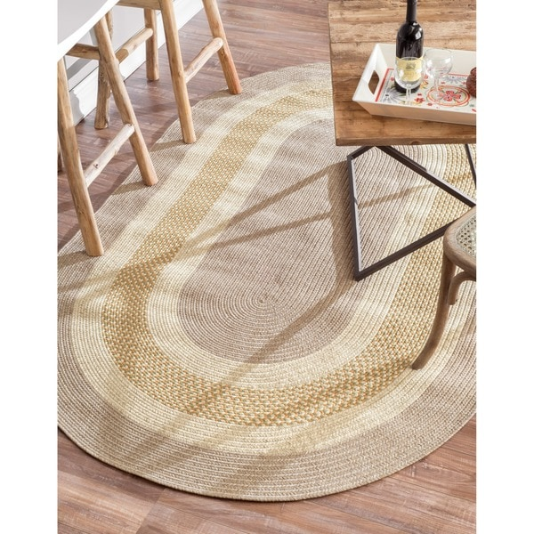 nuLOOM Handmade Reversible Braided Gold Chalet Rug (7'6 x 9'6 Oval)