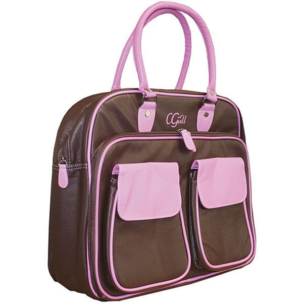 Cgull Cricut Cartridge Brown/ Pink Leather Storage Tote