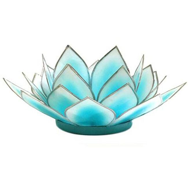 Capiz Shell Dahlia Aqua Lotus Tea Light (Philippines)
