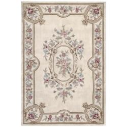 Nourison Hand-tufted Aubusson Garden Ivory Wool Rug (5'3 x 7'6)