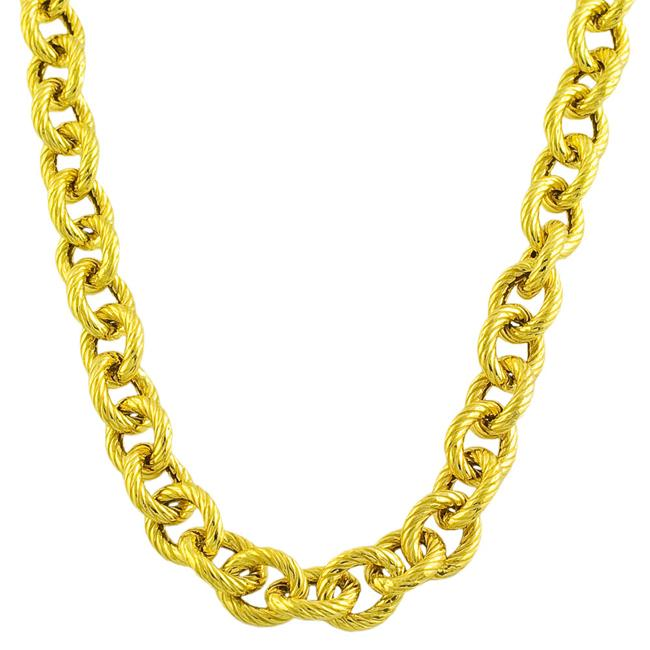 Fremada 14k Gold over Sterling Silver Bold Textured Link 24-inch Necklace