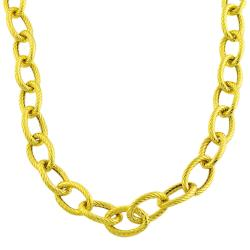 Fremada 14k Gold over Sterling Silver Bold Textured Link 20-inch Necklace