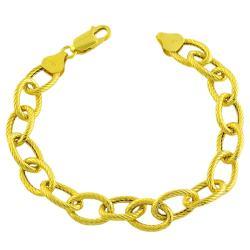 Fremada 14k Gold over Sterling Silver Bold Textured Link 7.5-inch Bracelet