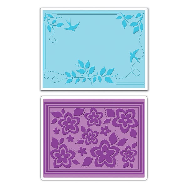 Sizzix Textured Impressions Bird and Branches/ Summer Flowers Embossing 2-folder Pack