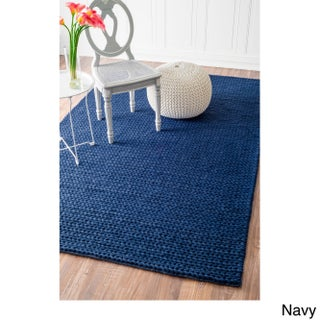 nuLOOM Handmade Braided Cable White New Zealand Wool Rug (5' x 8') (3 options available)