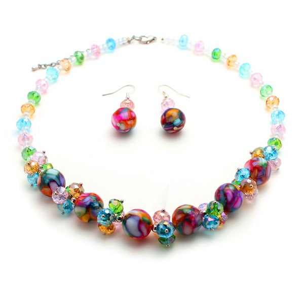 Multicolor Mosaic Marble and Crystal Cluster Jewelry Set