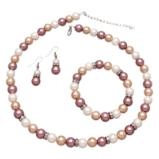 Bleek2Sheek Cream, Beige and White Glass Pearls and Rhinestones Necklace, Bracelet and Earrings Jewelry Set
