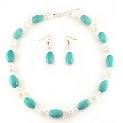 Glass Blue Turquoise and White Pearl Jewelry Set