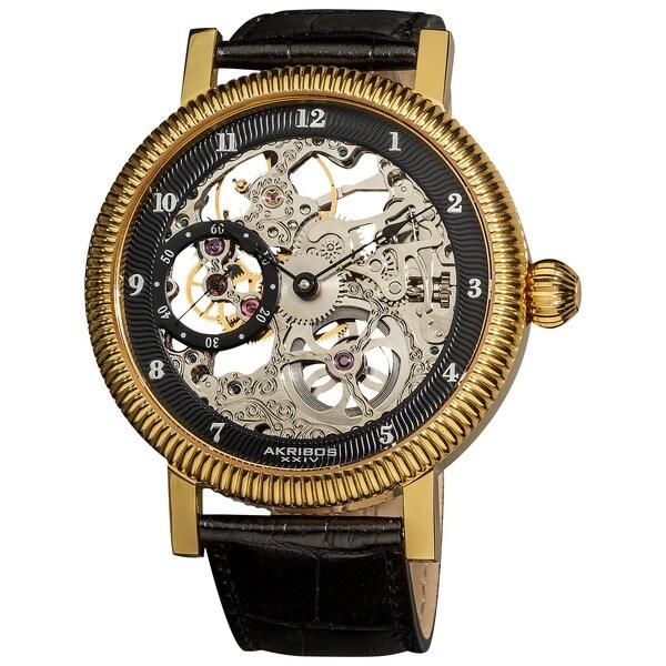 Akribos XXIV Men's Skeleton Mechanical Gold-Tone Strap Watch