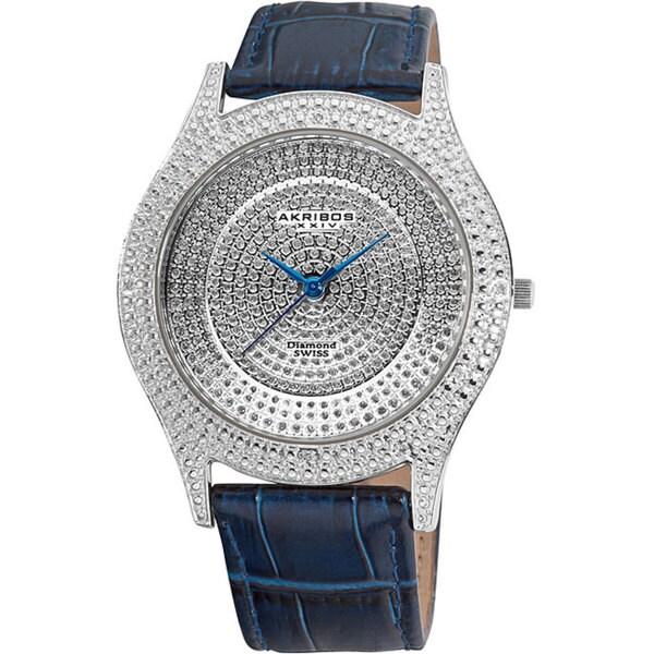 Akribos XXIV Men's Diamond Blue Brilliance Swiss Quartz Strap Watch