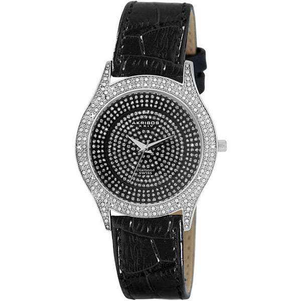 Akribos XXIV Women's Diamond Black Brilliance Swiss Quartz Strap Watch with FREE Bangle